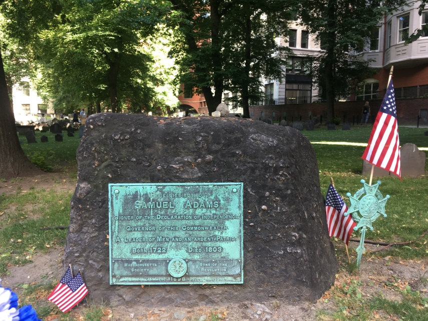 The grave of Founding father Samuel Adams(1722-1803) at Granary Burying Ground near Boston Common