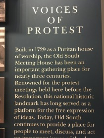 Voices of Protest at the Puritan House Old South Meeting place