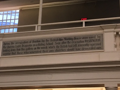 Inside the Old South Meeting House. Quote from George Washington