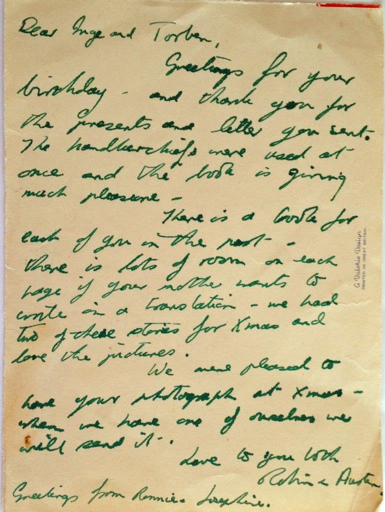 Josey's letter January 1955