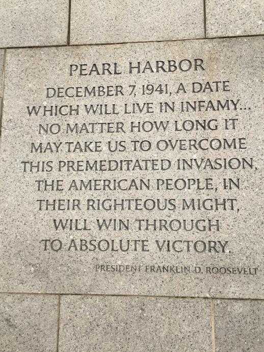 WW2 Memorial inscription by President F.D.R