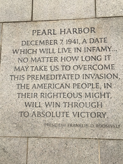 WW2 Memorial inscription by President F.D.R