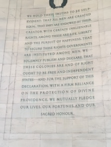 Excerpts of the Declaration of Independence drafted by Jefferson in 1776 in Philadelphia