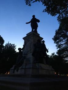 Lafayette statue by night