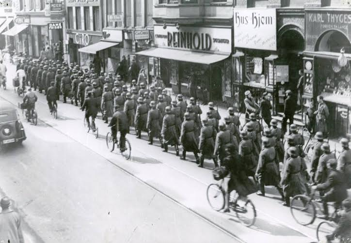 German soldiers marching in central Copenhagen during the war