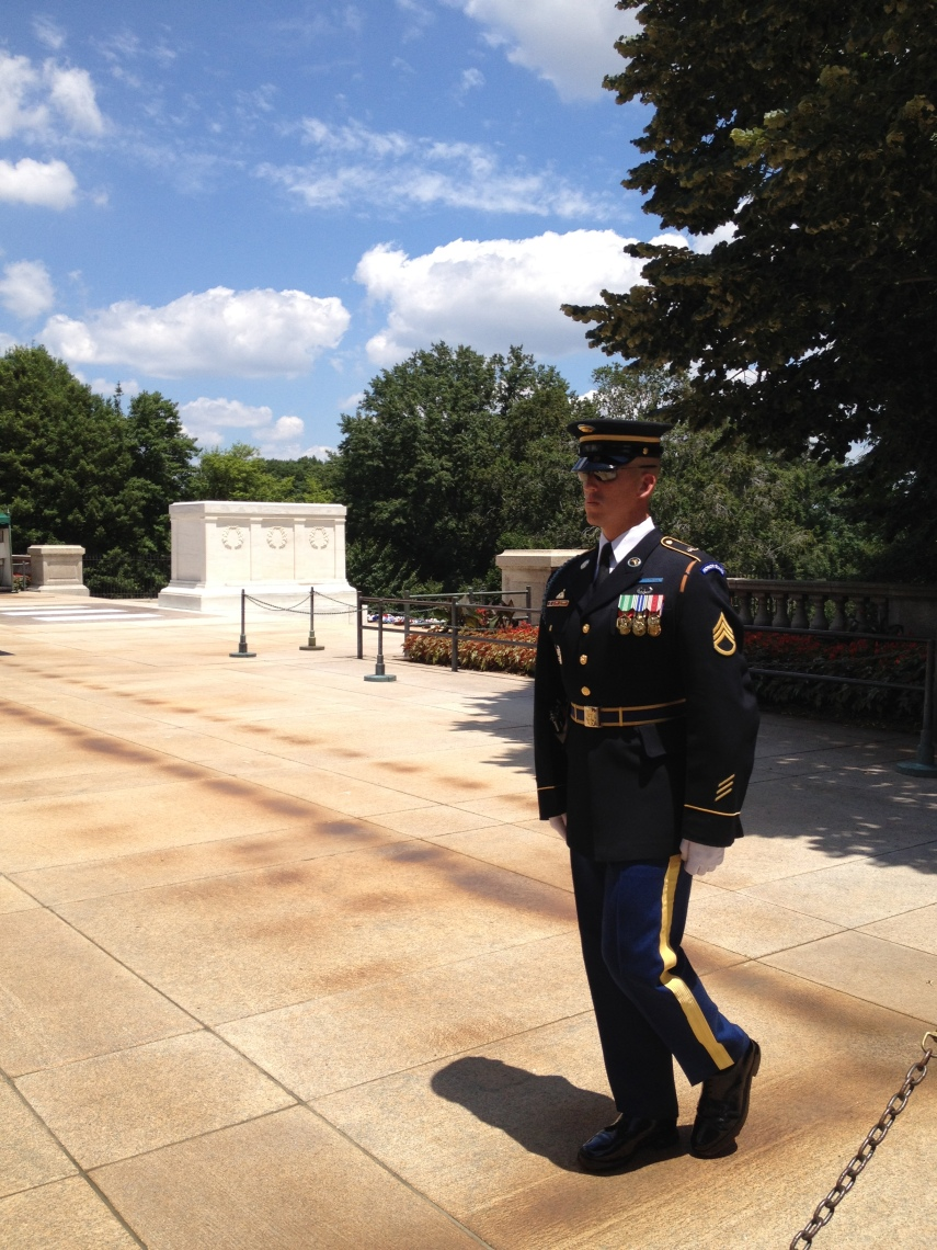 Arlington Cemetery. Ceremony at The Unknown Soldiers' grave