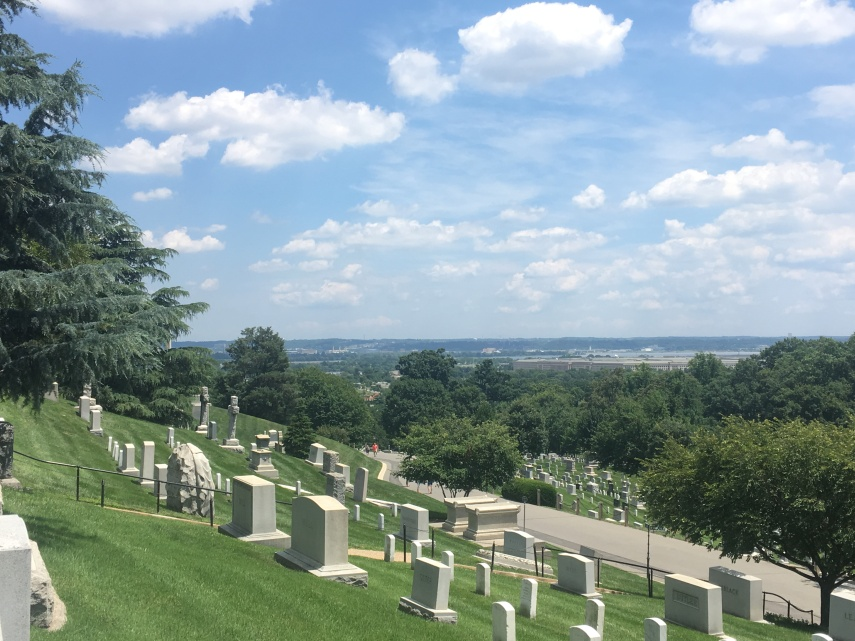 Hilly Arlington Cemetery. View towards The Potomac River.