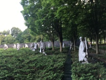 Washington DC Korean War Memorial, a squad of 19 stainless steel statues. The ponchos are a reminder of miserable weather conditions
