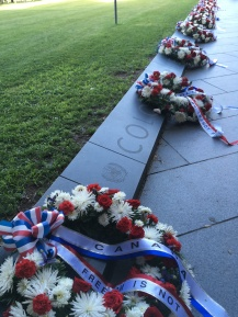 The wreaths represent the UN nations participating in the Korean war