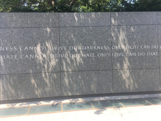 Washington DC Martin Luther King Memorial. One of two stone tablets with excerpts from MLK speeches