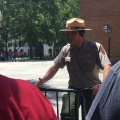 The ranger guarding the Independence Hall and helping the tourists to getin