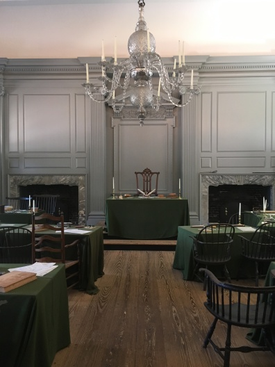 Assembly Room of Independence Hall where both documents were signed