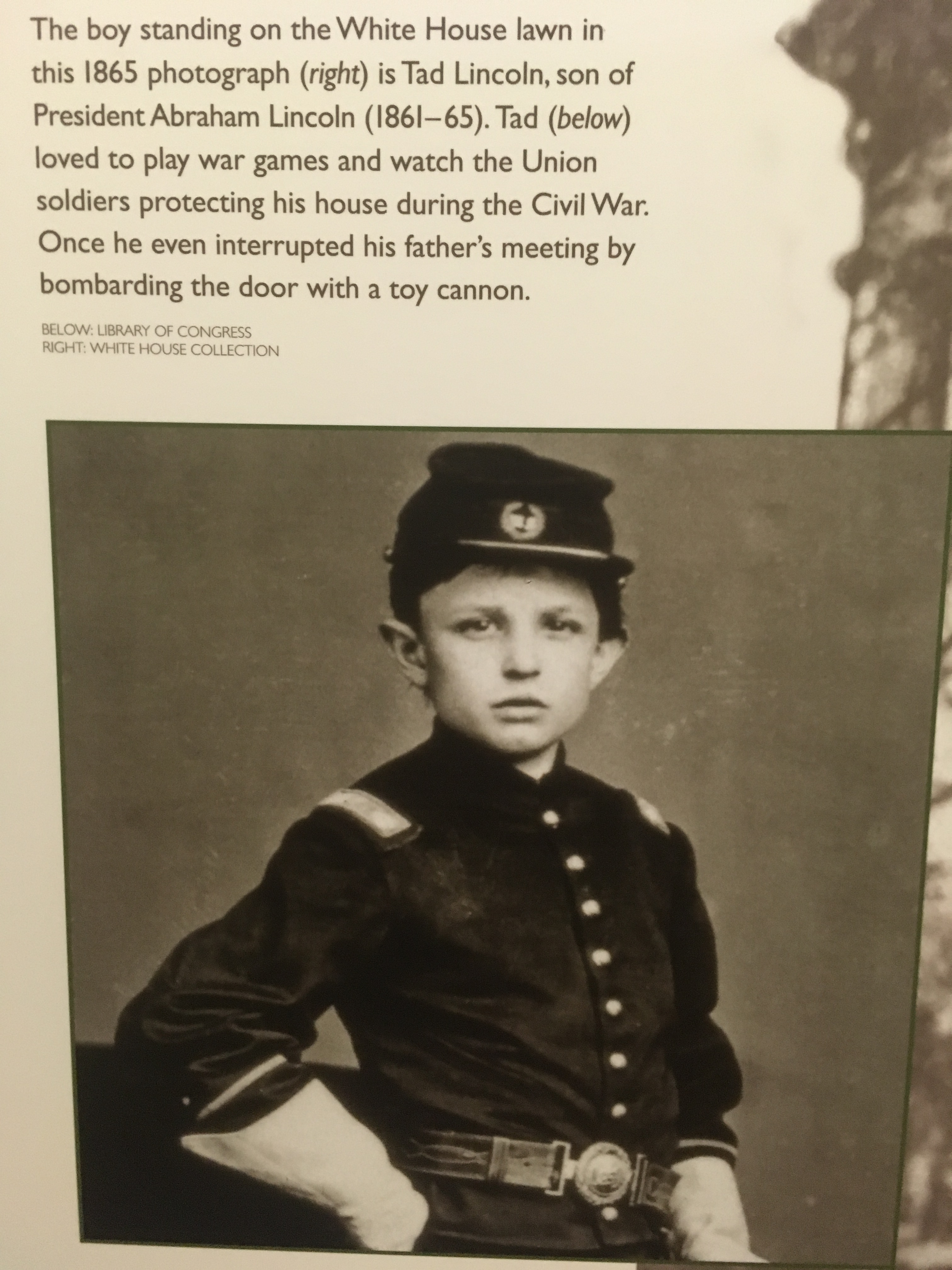 Tad Lincoln 1865. Picture from the White House Visitor Center