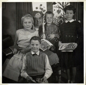 My aunt, and two cousins, my twin brother and me in 1957