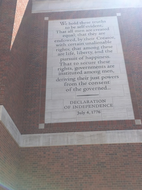 The first part of the Declaration of Independence on the wall of the Museum of The American Revolution, Philadelphia