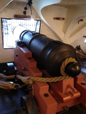 USS Constitution at Charlestown Navy Yard. The canon deck