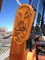 USS Constitution at Charlestown Navy Yard. The eagle, a shield and an anchor carved in wood and soft as silk