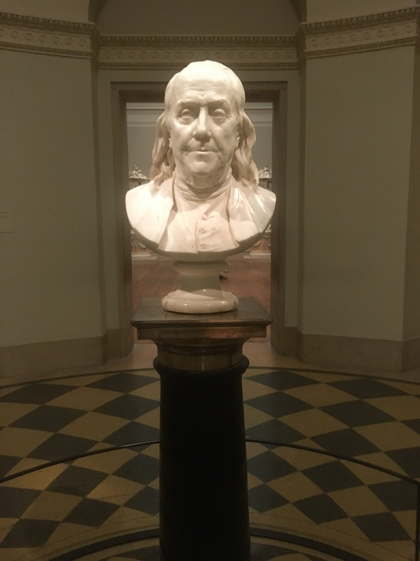 Marble bust of Benjamin Franklin in Philadelphia Museum of Art