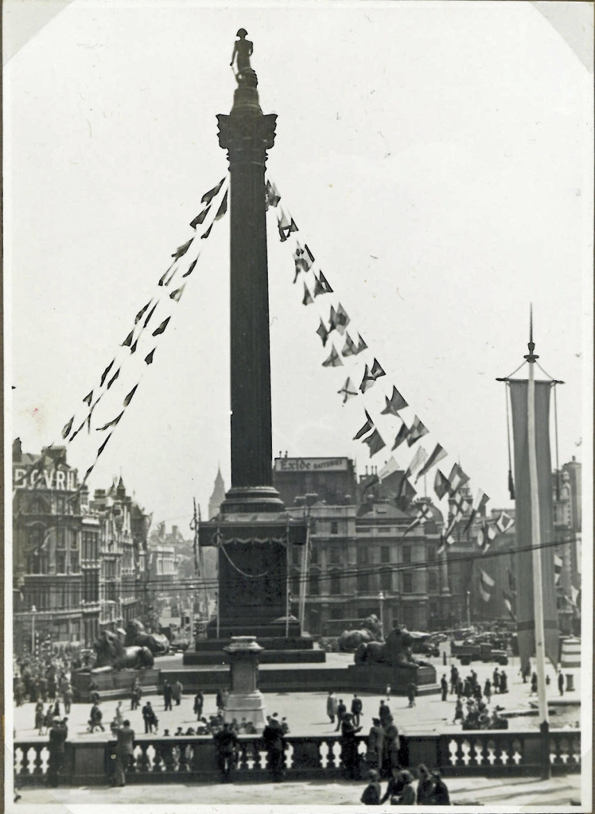 Trafalgar Square on D-Day 1946 seen from National Gallery