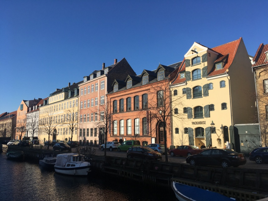 "A street and a canal in Christianshavn, a part of Copenhagen. ""The Upper Street at the water."""