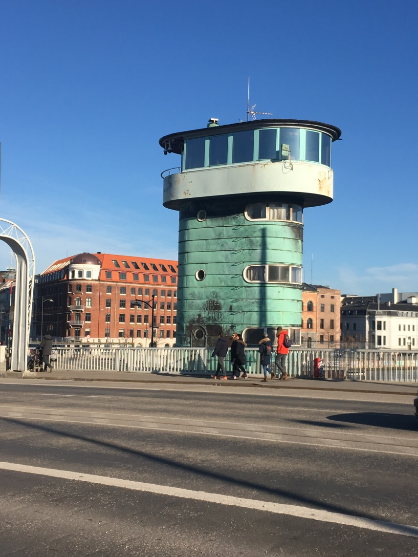 Iconic watchtower on a bridge in Copenhagen