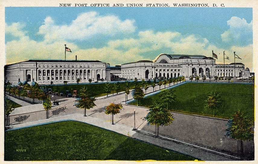 Post Card from 1913 featuring The New Post Office and Union Station Washington, D.C.