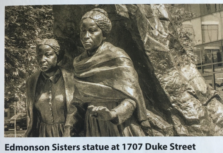 The Edmonson Sisters Statue from a brochure on African American History in Alexandria