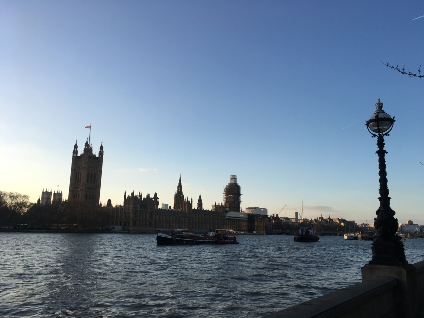 A view towards the Parliament seen from the south side of the Thames between Westminster Bridge and Lambeth Bridge