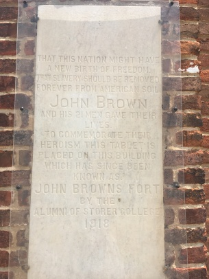 A memorial plate on the John Brown Fort from 1918