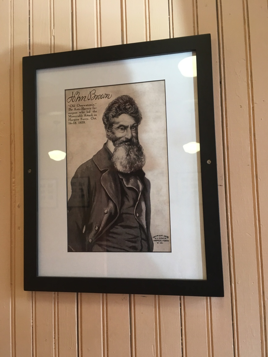 A picture of John Brown at the old railway station at Harpers Ferrry