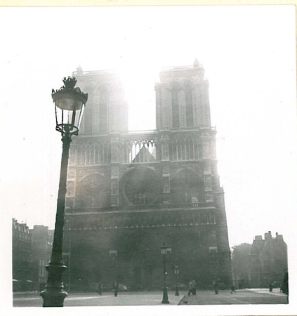 The western facade of the Gothic Notre Dame Cathedral from 1949