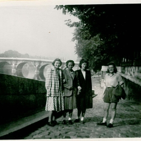 Some of the tourists at La Rive Gauche with Pont Neuf in the background