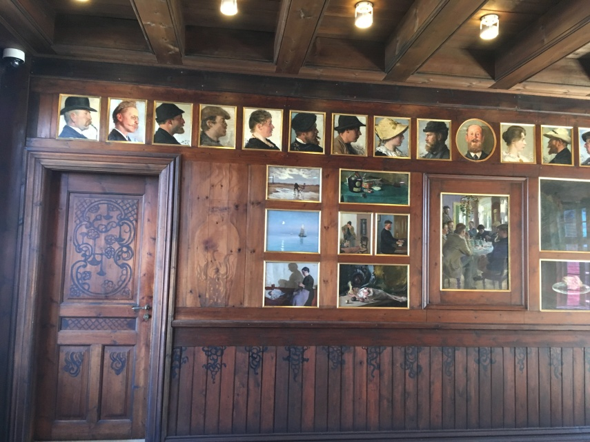 The wooden panels at the former dining room at Broendum's Hotel