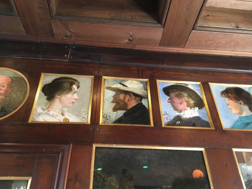 The wooden panels at the former dining room at Broendum's Hotel at Skagen Museum