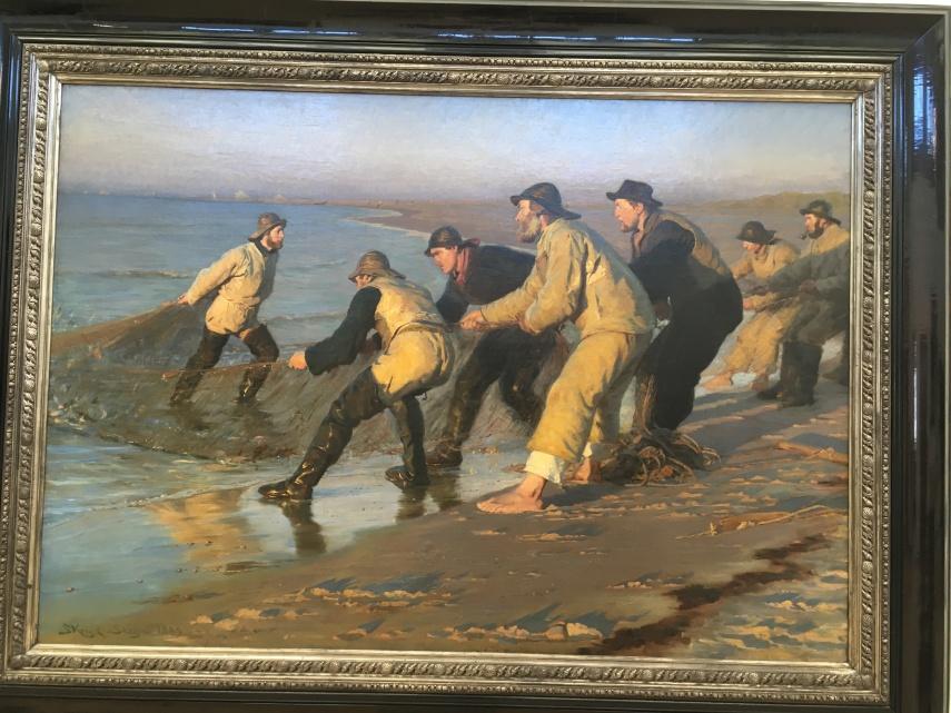P.S. Kroeyer : Fishermen hauling a net at Skagen Northern beach