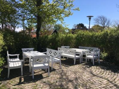 """""""Drachmann"""" benches The Skagen Museum garden"""