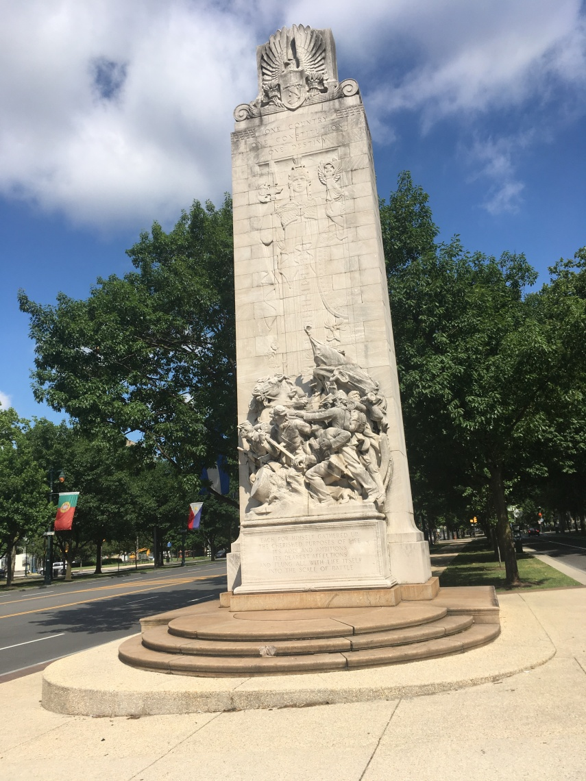A monument for the Civil War on Benjamin Franklin Parkway