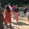 Some of the guests at Mount Vernon wear the colours of the American Flag