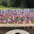 The small American flags decorate the wall at Mount Vernon, one for each newcitizen