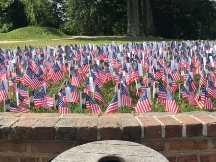 The small American flags decorate the wall at Mount Vernon, one for each new immigrant who is going to be neutralised that day.