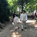 Father and son in costumes from Washington's time at the Vernon estatepark.