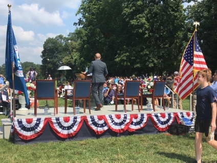 A speech is held for a group of new American citizens at Mount Vernon.