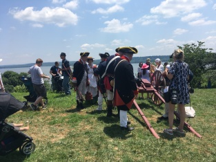 Actors from the Revolutionary period at Vermont. Potomac River is seen in the background.