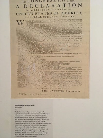 Declaration of Independence on display at Monticello