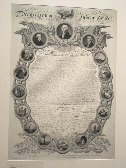 Declaration of Independence on display at Monticello surrounded by the Founding Fathers
