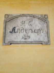The plaquette on the childhood home of H.C. Andersen in Odense