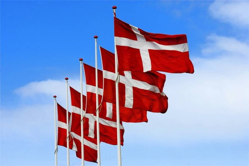 Dannebrog, the Danish flag from1100-1200, the world's oldest flag