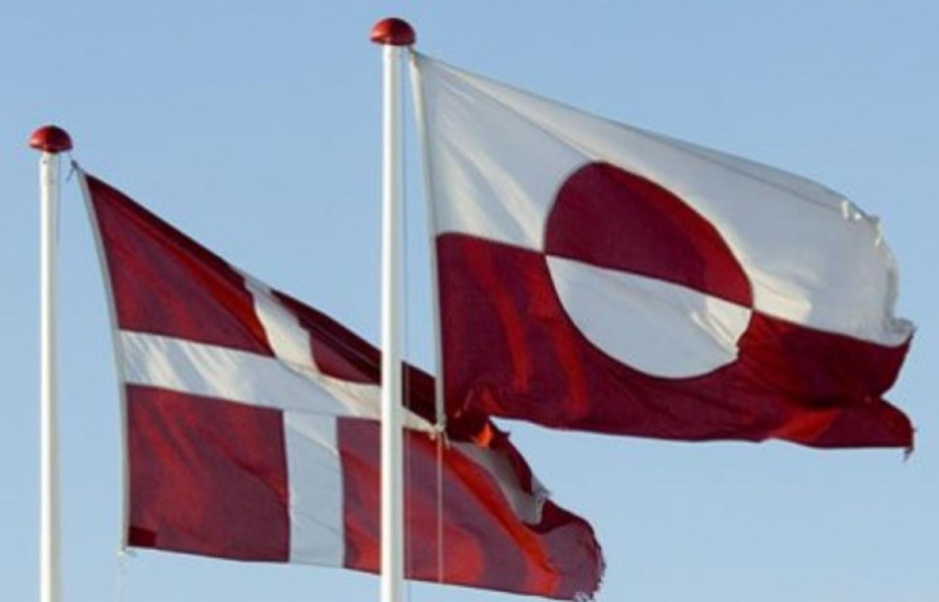 Dannebrog and the Greenlandish flag on their National Day  June 21. Found public domain