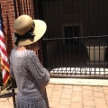 A tourist looking at Washington's grave