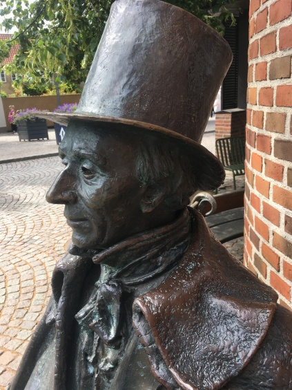 A bronze figure of H.C.A. in central Odense